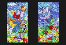 light mosaic work  into kitchen cabinets, דלתות מטבח מוארות בפסיפס / 2 panels of light mosaic work that integrated into kitchen cabinets, פנלים מוארים של פסיפס שמשתלבות בארונות מטבח
