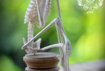 Hand Carved Deer Antler Skeleton sit and daydream / Already SOLD to France