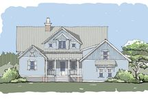 Wando Tide Home Plan / Coastal home plan with attached two-car garage, secluded master suite, 2 additional guest bedrooms, open living/kitchen area, expansive back porch, and Carolina Room.