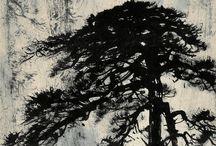 tušová malba, akvarel a kaligrafie