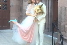 Bride and wedding guest outfits
