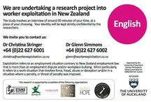 Worker Exploitation in NZ / Information about the research Auckland University have are conducting on worker exploitation in NZ.  This study was commissioned by a coalition of six organisation--Justice Acts NZ; Hagar NZ, ECPAT; Raising Hope; The Prescha Initiative; and Stand Against Slavery.  This card invites people to be part of the study.