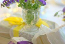 Cadbury purple and yellow wedding  / Cadbury purple wedding flowers yellow theme vintage style