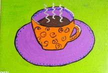 Paintings of Coffee, Tea and Wine