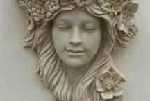 ceramika, głowy, twarze