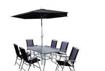 Outdoor Set (8 Pieces) Garden Patio Furniture s Set of Chairs Table and Parasol
