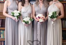 Bridesmaid Dresses from us / Our Multiway Gowns are one size fits all and the straps can be styled to over 40 different styles.