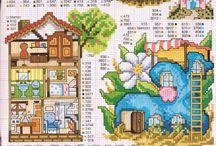 вышивка - домики