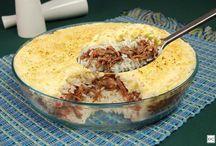 arroz com carne desfiada