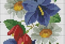 Haft krzyżykowy -kwiaty