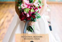 Hot Pink, Black & White Industrial Modern Wedding