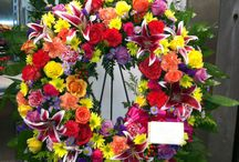 Standing funeral wreaths