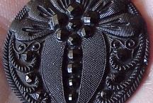 Back Glass Buttons / black Glass Buttons / by Deborah Hendrickson