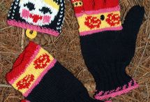 Knit fingers gloves and socks and hats