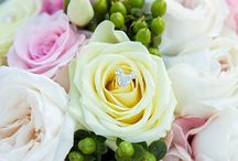 pinks, reds and creams wedding flowers