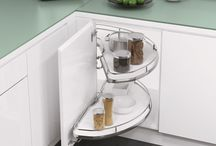 Clever Corner Storage from Vauth-Sagel / Vauth-Sagel cabinet hardware optimises use of those tricky corner cabinets. Blind corner units are available in left hand or right hand configurations. Units for L-shaped corners rotate fully. These clever kitchen cabinet ideas for corner storage combine convenience, efficiency and good looks.