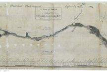 Cape Cod Canal Old Maps / This is the 100 year anniversary of the Cape Cod Canal. These maps were produced between 1824 -1829 beginning with surveys and ending with proposed lock construction plans. They illustrate land features, farmsteads and owner names.