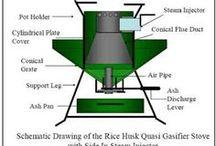 Rice husk stove