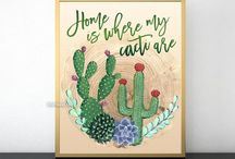 ~ Prints and printables ~ Cacti and succulent prints with my original illustrations
