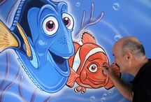 "finding nemo mural / I was asked to create a mural for an energetic 4 year old little boy. The family wanted a Nemo theme which would feature the two most popular characters of the film, Nemo's father ""Marlin"" and ""Dory"" the skitty Blue Tang. The underwater theme was enhanced with a simple coral bed, bubbles and some simple motion waves and fish"