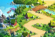 cartoon village landscapes
