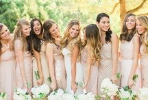 Bridesmaids / Some inspiration for your bridesmaid dresses. Let me know your preference in shades of beige. I like more yellowy/goldy/warm-tones of beige, but there seems to be a lot more pinky/cool-tones of beige out there.  Also, in terms of the textures/fabrics, I am thinking one or two of each of the following (I'm going to have tulle in my wedding dress): - Chiffon - Sparkly/sequin - Lace.  Please post your ideas! / by Jenny Le