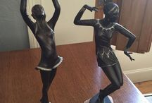 two lovely figurines art deco 1930s 40s original ... leave msg if  pinterested..