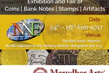 Marudhar Arts 8th National Numismatic Exhibition / Exhibition and Fair of Coins | Bank Notes | Stamps | Artifacts  Venue and Date: 24 th - 26th Feb The Bel Hotel, Majestic, No 88, Adjacent to City Railway Station, Bangalore, 560023.
