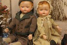 Antique and vintage beautiful doll's / wax, composite, felt, wood and papier mache.