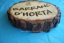 RODAJA / ROSCA de MADERA / Rodaja de madera personalizada con el nombre de tu casa de campo o pueblo. Lo que tu quieras. Pirograbado y barnizado.