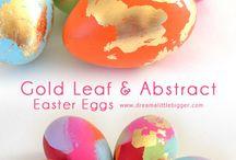 Modern easter eggs decorating
