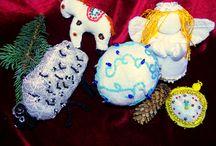 Мои елочные игрушки.My fir-tree toys.Hand-made. / Мои рукодельные изделия.... My needlework wares....