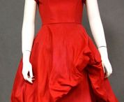 Vintage Red Women Fashion / Vintage dresses, gowns, etc., done in red. Tulle, satin, long dress, short dress, strapless, velvet,