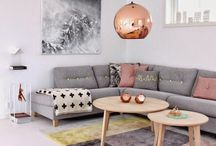 Grey pink living room