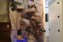Custom Rock Aquarium / Faux fiberglass rock materials. Made to any size design or specification and can retrofit a custom aquarium.