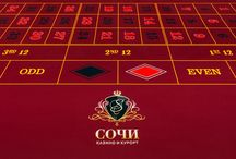 Collection / Cards, chips, tables used in the game.  Sochi Casino & Resort