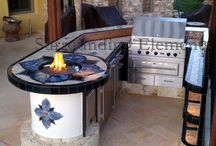 Mosaic Barbecue Islands / Complete your outdoor decor with a beautiful, custom made barbecue island or outdoor kitchen. Custom or standard designs available. Choose the design, shape, size and components that best fit your needs. We can build anything from a small barbecue island to a custom designed entertainment center complete with barbecue, side burner, sink, refrigerator, bar center, storage areas and stereo system. You can make your island multi-level with a bar or add a table end to the island. Island