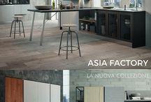 Cucine Moderne - Asia Factory / Nuova collezione Asia-Factory. Versatile e componibile. Finiture vintage naturale e miele impiallacciato da 22 millimetri. bit.ly/1VDAq12
