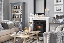 Pink and grey living room design
