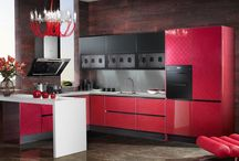 Red Acrylic Kitchen Cabinet (Mode:OP13-077) / 2013 Red Quartz Stone Kitchen Cabinet with Acrylic Finish Design
