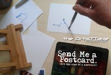 """Send Me A Postcard / The juried ArtisTTable exhibition for art that is 4"""" X 6"""" or 10 X 15.5 cm in its original form. Submit by August 17th"""