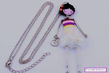 Cute handmade doll pendants /  All item made from carefully selected beads, silk, tull combined with l