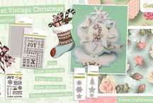 CraftEmotions Sweet Vintage Christmas / A collection matching products for cardmaking, mixed media and more. Available products: decorated paperstack, dies, clearstamps, masks, wooden ornaments.