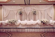 Draping-Backdrops, Head Tables, etc. / Backdrops and Head Table Designs with Drape and Fabric / by Bergerons Flowers