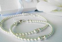 Wedding Jewelry / Swarovski Crystal and Pearl Wedding Jewelry from www.crystalbluedesigns.artfire.com
