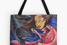 Arty tote bags / my art as tote bags, for sale
