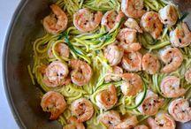 Recepten / Zuccini pasta met garnalen