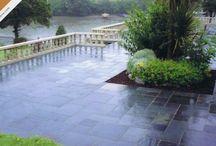 Slate & Limestone Paving / Slate paved patios laid with Caledonian Stone slate products