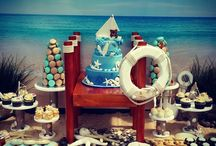 beach theme sweets buffet setup
