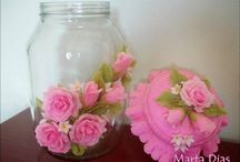 flor de bisqui em pote